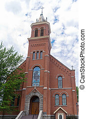 Landmark Church in Buckman - historic landmark red brick...
