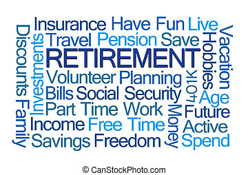 Retirement Word Cloud on White Background
