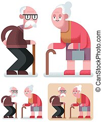 Old Age - Flat design illustration of elderly couple in 3...