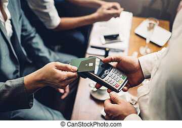 Contactless Card Payment - Close up of a card payment being...