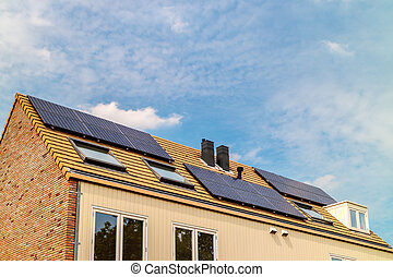 New Dutch houses with solar panels - Row of new Dutch houses...