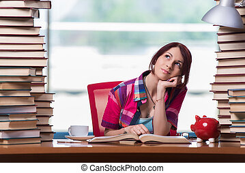Young woman student preparing for college exams