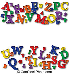 Alphabet Border - Colourful letters making a border on a...