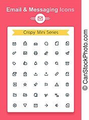 Vector line email and messaging app tiny icon set...