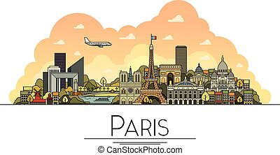 Vector line art Paris, France, travel landmarks and...