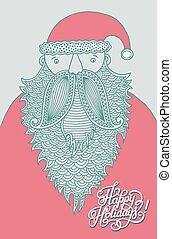 santa claus, modern graphic style, with hand lettering