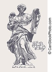 drawing of marble statue of angel from the Sant'Angelo...