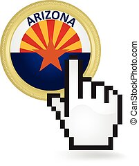 Arizona Button Click - Hand cursor clicking on the state of...