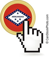 Arkansas Button Click - Hand cursor clicking on the state of...