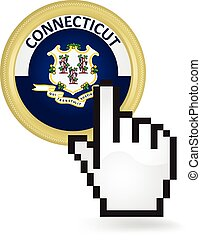 Connecticut Button Click - Hand cursor clicking on the state...