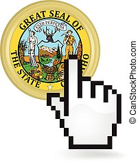 Idaho Button Click - Hand cursor clicking on the state of...