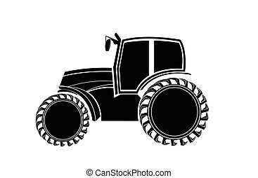 Black-and-white silhouette of the tractor