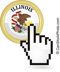 Illinois Button Click - Hand cursor clicking on the state of...