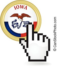 Iowa Button Click - Hand cursor clicking on the state of...