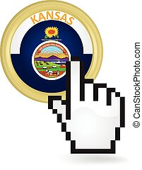 Kansas Button Click - Hand cursor clicking on the state of...