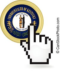 Kentucky Button Click - Hand cursor clicking on the state of...