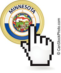 Minnesota Button Click - Hand cursor clicking on the state...