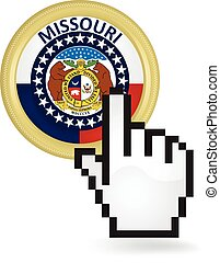 Missouri Button Click - Hand cursor clicking on the state of...