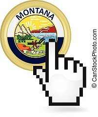 Montana Button Click - Hand cursor clicking on the state of...