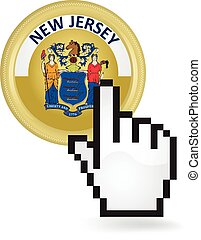 New Jersey Button Click - Hand cursor clicking on the state...