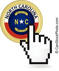 North Carolina Button Click - Hand cursor clicking on the...