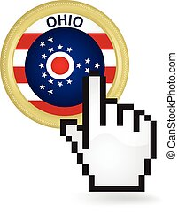 Ohio Button Click - Hand cursor clicking on the state Ohio...
