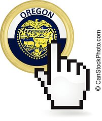 Oregon Button Click - Hand cursor clicking on the state...