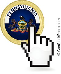 Pennsylvania Button Click - Hand cursor clicking on the...
