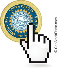 South Dakota Button Click - Hand cursor clicking on the...