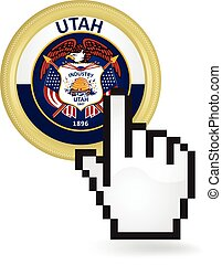 Utah Button Click - Hand cursor clicking on the state Utah...