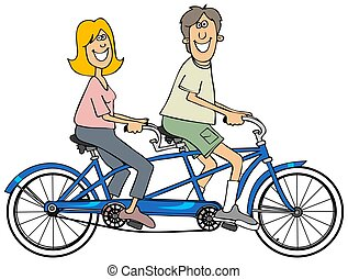 Couple riding a blue tandem bicycle - Illustration of a man...