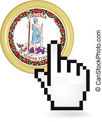 Virginia Button Click - Hand cursor clicking on the state...