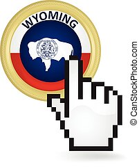 Wyoming Button Click - Hand cursor clicking on the state...