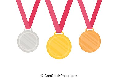 Gold Silver Bronze medal icon Vector set Isolated medal on...