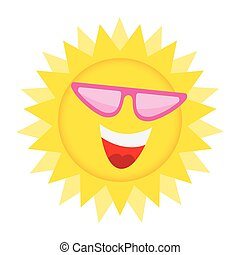 Sun Face with sunglasses and Happy Smile. - Summer Sun Face...