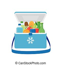 Bag refrigerator icon Cooler symbol - freezer-bag in blue...