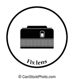Icon of photo camera 50 mm lens Thin circle design Vector...