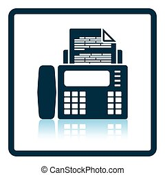 Fax icon Shadow reflection design Vector illustration