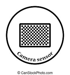 Icon of photo camera sensor. Thin circle design. Vector...