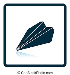 Paper plane icon. Shadow reflection design. Vector...