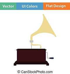 Gramophone icon Flat color design Vector illustration