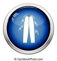 Football fans clapping sticks icon. Glossy button design....