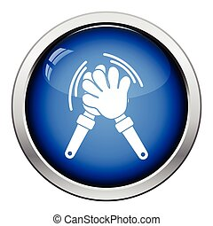 Football fans clap hand toy icon. Glossy button design....