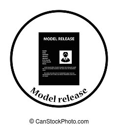 Icon of model release document Thin circle design Vector...
