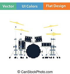Drum set icon Flat color design Vector illustration