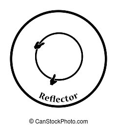 Icon of hand holding photography reflector. Thin circle...