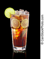 Cuba libre cocktail over black background