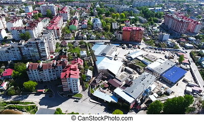 city with a birds-eye view - center of a small city with a...