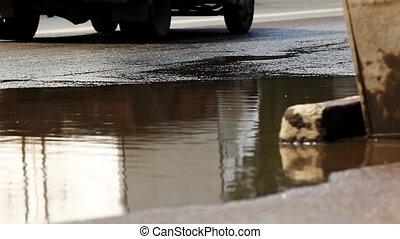 puddle on street