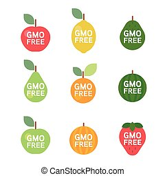 GMO Free tag logo label emblem for plant fruits and...